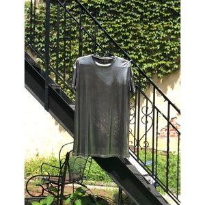 SHEIN Dresses - Shein Silver Metallic Tee Shirt Dress